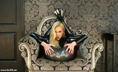 blonde with Sexy High Heels and latex