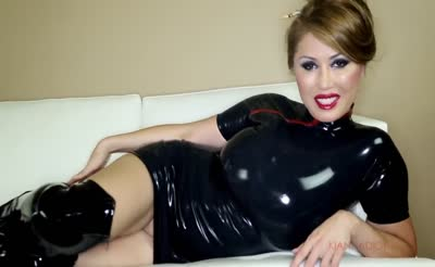 sexy asian girl blowjobs in shiny latex