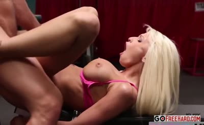 hot fit blonde eats dick in training