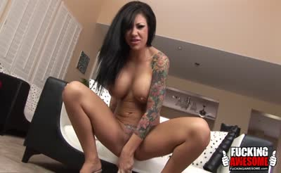 sexy hot busty tattooed brunette use huge dildo