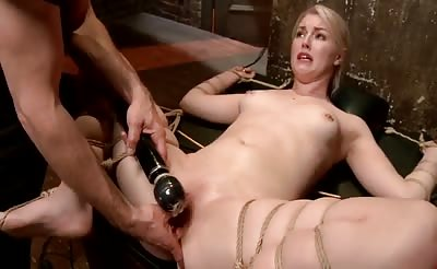 blonde tight in rope gets forced squirting orgasm