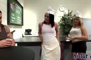 Two wild coffee shop waitress in action