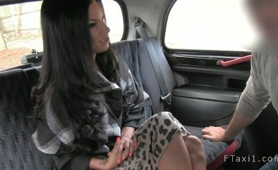 Hot busty blackmailed MILF rimjob and fuck in taxi