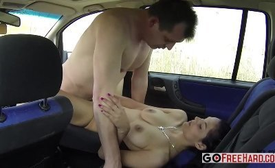 Amateur Czech girl fucked on car for money