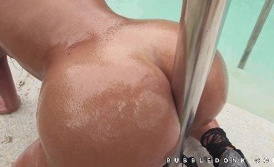 Amazing oiled up big booty tease