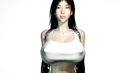 Animated babe with massive breasts