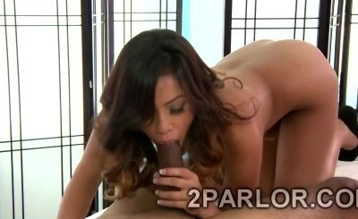 Asian hottie massages huge meatbone with her sweet mouth