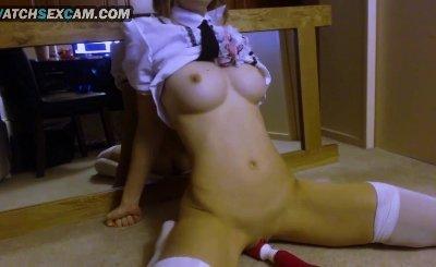 Asian Teen Schoolgirl With Big Boobs Hitachi Magic Wand Mirror Masturbation