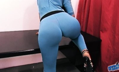 BIG ASS Latina Big Tits Big Cameltoe Pussy In Tight Spandex Wearing G-Strin