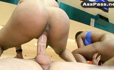 Black pornstars Jayla Foxx, Bella in anal  foursome