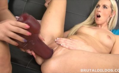Blonde fucking her blonde girlfriend with two massive brutal dildos in HD