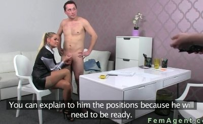 Blonde female agent jerks off limp dick in office