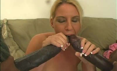Fake black dicks fuck white chicks with oral dp