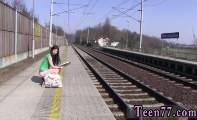 Blonde teen big tits bondage Masturbating at the train station