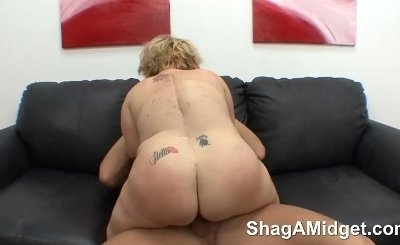 Blonde midget gets hard fucked