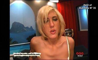 Blonde babe loves swallowing cum like a true bukkake cum bucket