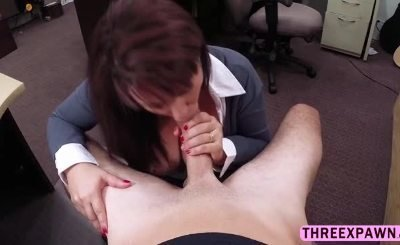 Brunette mature MILF takes huge cock and get pounded from behind