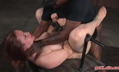 Busty Bella Rossi BaRS show grand finale with strict metal bondage