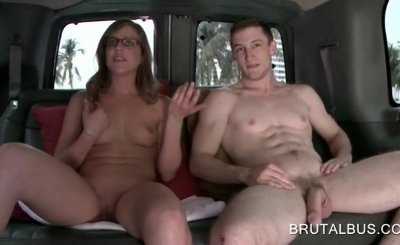 Bus bitch in glasses digs big boner in the sex bus