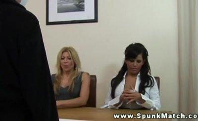 CFNM sluts help their collegues cum during their meeting