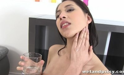 christy charming gets playful with her pee