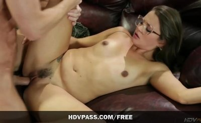 Cute GF Allie Haze gets her dripping wet pussy pounded on the couch
