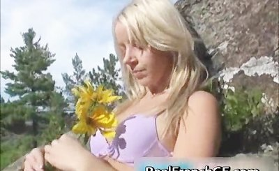 Cutie french GF nude with a sunflower  part1
