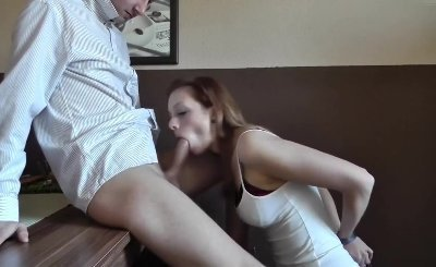 Cute girlfriend giving nice head