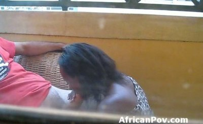 Dark Nubian amateur gives outdoor blowjob on hidden camera
