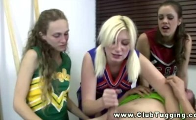 Dirty cheerleaders get dirty on his hard dick as they blow this guy