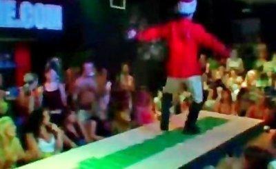 Drunk hoes enjoy striptease at orgy