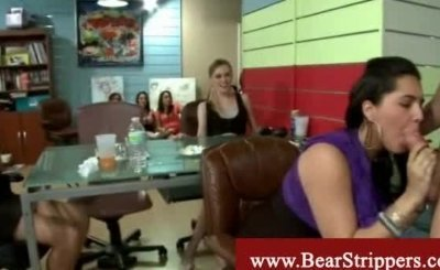 Ebony girl swallows a white malestrippers dick