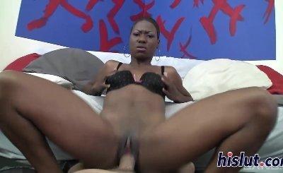 Ebony wench loves pleasuring a massive rod