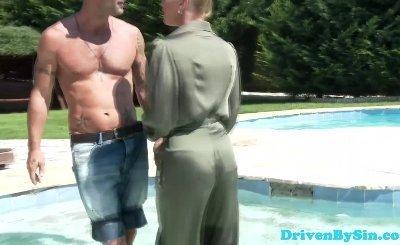 Euro femdom pornstar Kathia Nobili in a pool
