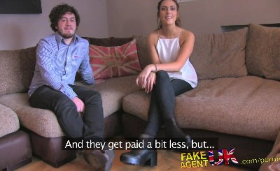 FakeAgentUK Swinging fit couple try threesome on casting couch with agent