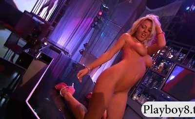 Group of stunning strippers stripteasing and have fun on stage