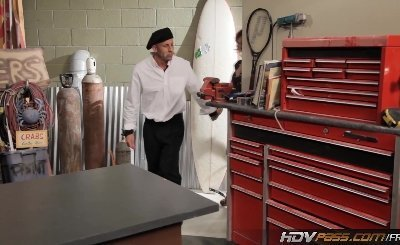 HDVPass Petite Cougar Rebecca Bardoux rides the MILF buster in the garage
