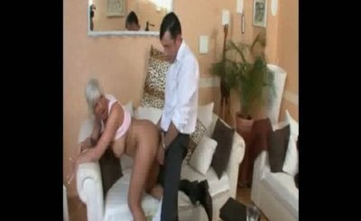 Hot German Milf with big tits cheating on couch