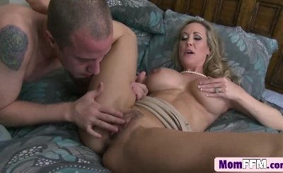 Hot cougar Brandi Love seduces stepson with her big jugs