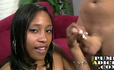 Hot black girl gives a handjob