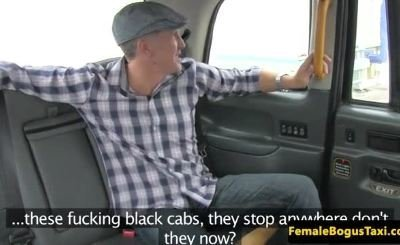 Hugetitted female cabbie fucks famous client