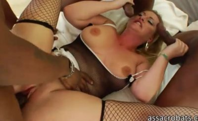 Huge tits and ass Aline gangbanged by enormous black cocks