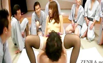 Japanese oral sex bonanza with a lingerie clad AV star
