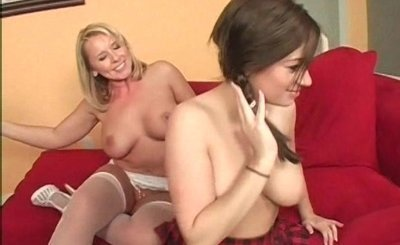 Lesbian school girl drilling moms horny snatch