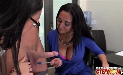 Lustful stepmom Ava Addams threesome sex with study buddies