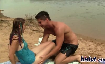 Lusty slut gets rammed on the beach
