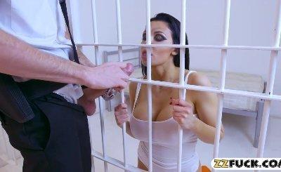 Massive boobs whore Aletta Ocean anal fucked by prison guard