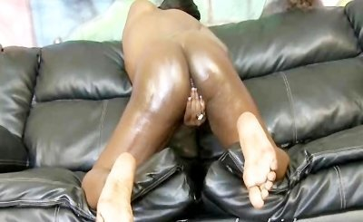 Oiled ass ebony amateur in rough white cock interracial fucking of her tight poon