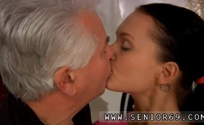 Old couple young girl full length Clair is having dance lessons from