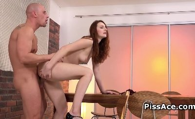 Redhead Model drinks piss after deepthroating